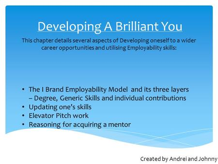 Developing A Brilliant You