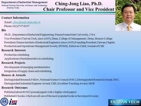 Department of Industrial Management National Taiwan University of Science and Technology (Taiwan Tech) Contact Information