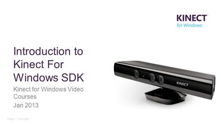Introduction to Kinect For Windows SDK