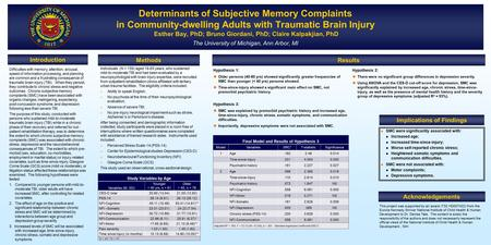 Determinants of Subjective Memory Complaints in Community-dwelling Adults with Traumatic Brain Injury Esther Bay, PhD; Bruno Giordani, PhD; Claire Kalpakjian,