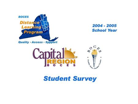 .. CRB/FEH Distance Learning Project Student Survey 2004 – 2005 School Year BOCES Distance Learning Program Quality Access Support.