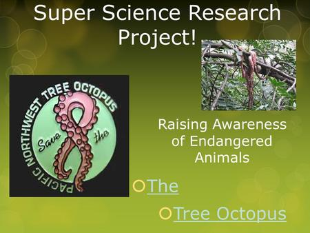 Super Science Research Project!  The The  Tree Octopus Tree Octopus Raising Awareness of Endangered Animals.