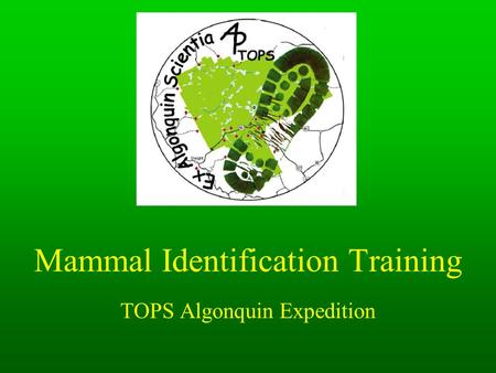 Mammal Identification Training TOPS Algonquin Expedition.