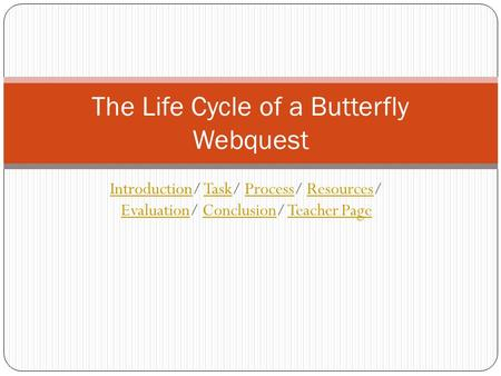 The Life Cycle of a Butterfly Webquest