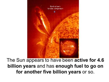 The Sun appears to have been active for 4.6 billion years and has enough fuel to go on for another five billion years or so.