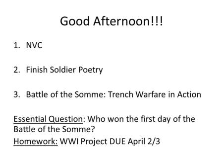 Good Afternoon!!! NVC Finish Soldier Poetry