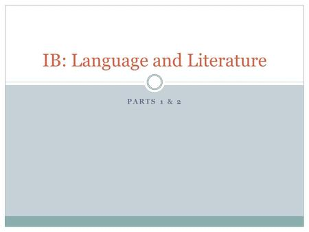 IB: Language and Literature