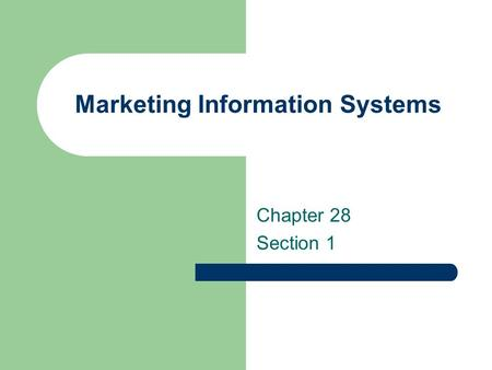 Marketing Information Systems Chapter 28 Section 1.
