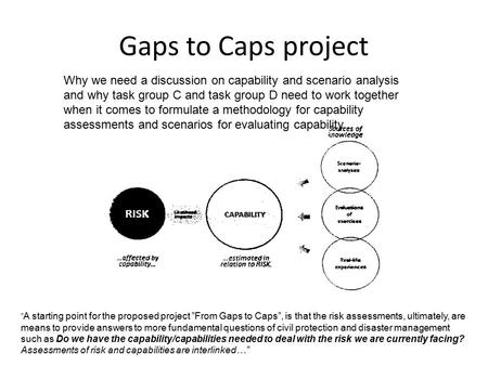 Gaps to Caps project Why we need a discussion on capability and scenario analysis and why task group C and task group D need to work together when it comes.