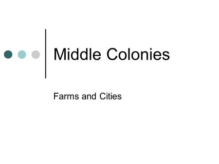 Middle Colonies Farms and Cities. Wealth of Resources Immigrants were Dutch and German farmers- skills and knowledge would result in abundance of food.