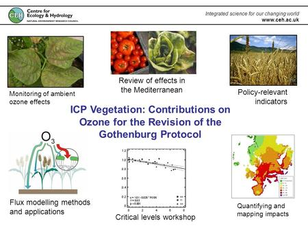 Integrated science for our changing world www.ceh.ac.uk ICP Vegetation: Contributions on Ozone for the Revision of the Gothenburg Protocol Monitoring of.
