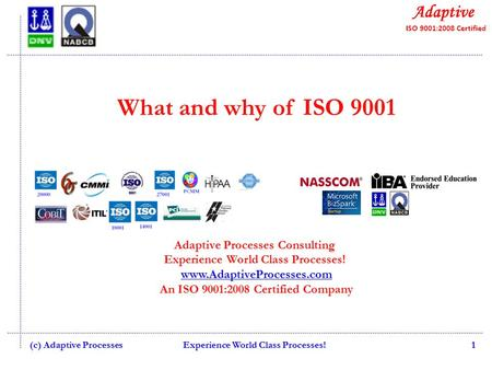What and why of ISO 9001 Adaptive Processes Consulting Experience World Class Processes! www.AdaptiveProcesses.com An ISO 9001:2008 Certified Company www.AdaptiveProcesses.com.