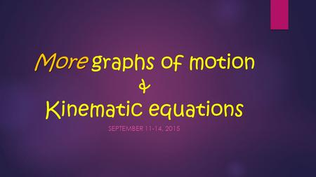 More More graphs of motion & Kinematic equations SEPTEMBER 11-14, 2015.
