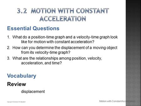 3.2 Motion with Constant Acceleration
