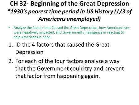 the small factors that created the great depression in america Quilts were created for practical use from the great depression was a main factor in the implementation the great depression in latin america.