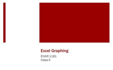 Excel Graphing ENGR 1181 Class 5. Why use Excel?  Excel is a powerful spreadsheet program that can be used for: Creating graphical displays of data Performing.