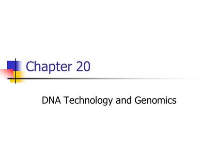 Chapter 20 DNA Technology and Genomics. DNA Cloning.