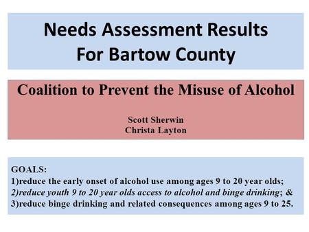 Needs Assessment Results For Bartow County Coalition to Prevent the Misuse of Alcohol Scott Sherwin Christa Layton GOALS: 1)reduce the early onset of alcohol.