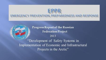 "Progress Report of the Russian Federation Project 2013 ""Development of Safety Systems in Implementation of Economic and Infrastructural Projects in the."
