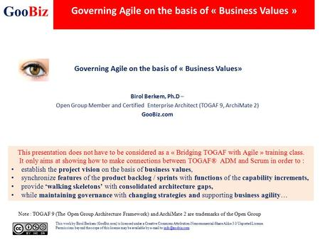 Governing Agile on the basis of « Business Values »