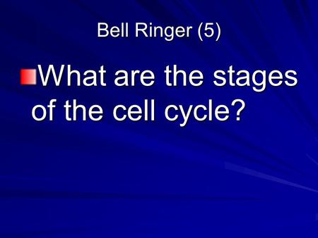 Bell Ringer (5) What are the stages of the cell cycle?