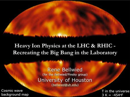 Heavy Ion Physics at the LHC & RHIC - Recreating the Big Bang in the Laboratory Rene Bellwied (for the Bellwied/Pinsky group) University of Houston