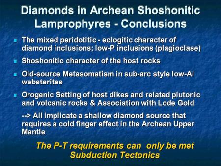 Diamonds in Archean Shoshonitic Lamprophyres - Conclusions