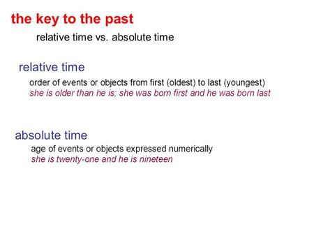 The key to the past relative time vs. absolute time relative time order of events or objects from first (oldest) to last (youngest) she is older than he.