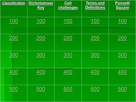 Classification Dichotomous Key Cell challenges Terms and Definitions Punnett Square 100 200 300 400 500.