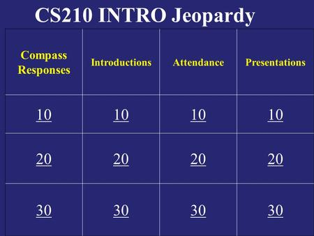 CS210 INTRO Jeopardy Compass Responses IntroductionsAttendancePresentations 10 20 30.