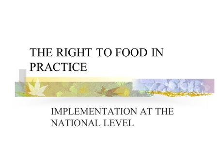 THE RIGHT TO FOOD IN PRACTICE IMPLEMENTATION AT THE NATIONAL LEVEL.