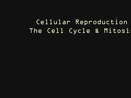 Cellular Reproduction The Cell Cycle & Mitosis. 9 - Ch.9 – Cellular Reproduction 9.1 – Cellular Growth.