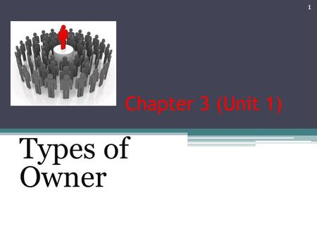 Chapter 3 (Unit 1) Types of Owner 1. Types of legal structures 2.