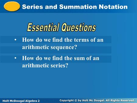 Essential Questions Series and Summation Notation