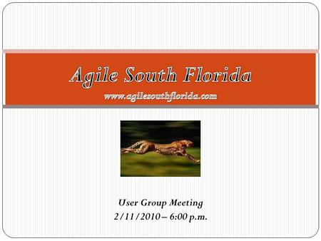 User Group Meeting 2/11/2010 – 6:00 p.m.. Meeting Agenda 1. Group Goal: To create a forum in our local area where we can exchange ideas related to agile.