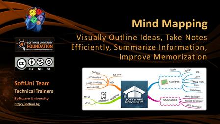 Mind Mapping Visually Outline Ideas, Take Notes Efficiently, Summarize Information, Improve Memorization SoftUni Team Technical Trainers Software University.