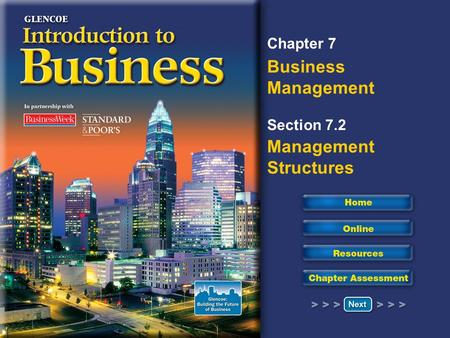 Chapter 7 Business Management Section 7.2 Management Structures.
