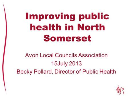 Improving public health in North Somerset Avon Local Councils Association 15July 2013 Becky Pollard, Director of Public Health.