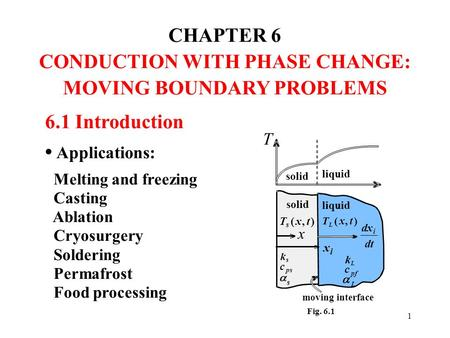 CONDUCTION WITH PHASE CHANGE: MOVING BOUNDARY PROBLEMS