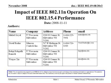 Doc.: IEEE 802.19-08/30r2 SubmissionMukul Goyal, U Wisconsin MilwaukeeSlide 1 Impact of IEEE 802.11n Operation On IEEE 802.15.4 Performance Notice: This.
