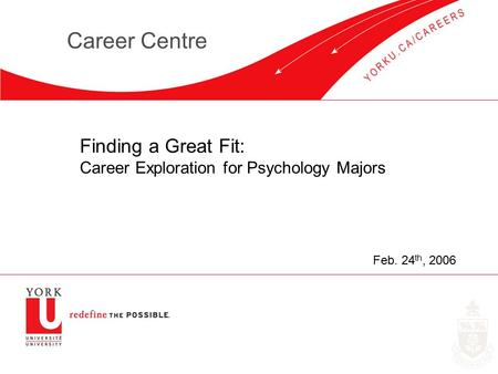 Career Centre Finding a Great Fit: Career Exploration for Psychology Majors Feb. 24 th, 2006.