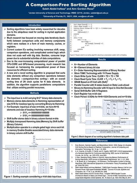 TEMPLATE DESIGN © 2008 www.PosterPresentations.com A Comparison-Free Sorting Algorithm Saleh Abdel-hafeez 1 and Ann Gordon-Ross 2 1 Jordan University of.