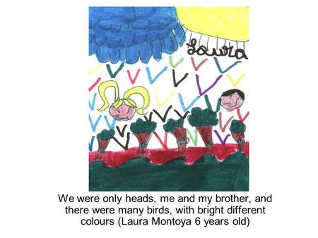 We were only heads, me and my brother, and there were many birds, with bright different colours (Laura Montoya 6 years old)