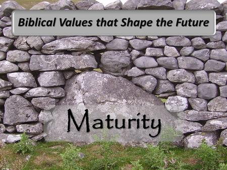 Maturity Biblical Values that Shape the Future. Brothers and sisters, we taught you how to live in a way that will please God (1 Thessalonians 4:1 NCV)
