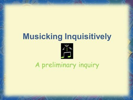 "Musicking Inquisitively A preliminary inquiry. ""What do we listen to?"" Genre% Rock Country Rap/Hip-hop R&B/Urban Other Pop Religious Children's Classical."