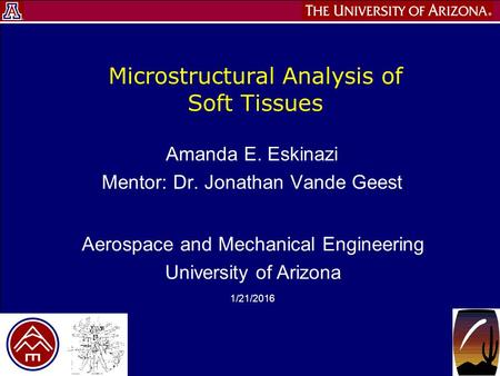 Aerospace and Mechanical Engineering University of Arizona 1/21/2016 Microstructural Analysis of Soft Tissues Amanda E. Eskinazi Mentor: Dr. Jonathan Vande.