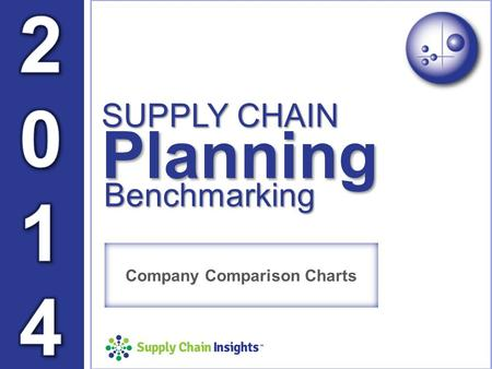 Supply Chain Insights TM Benchmarking SUPPLY CHAIN Planning Company Comparison Charts.