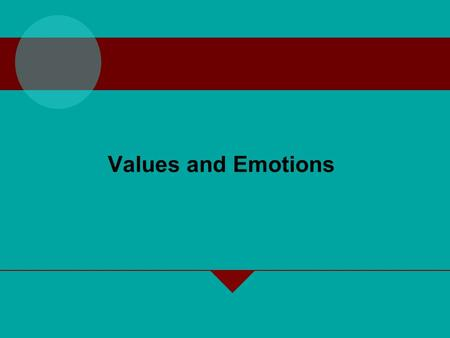 Values and Emotions. Values, Attitudes, and Moods and Emotions Values –Describe what managers try to achieve through work and how they think they should.