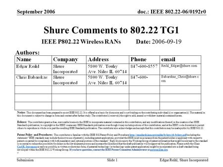 Doc.: IEEE 802.22-06/0192r0 Submission September 2006 Edgar Reihl, Shure IncorporatedSlide 1 Shure Comments to 802.22 TG1 IEEE P802.22 Wireless RANs Date: