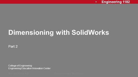 Dimensioning with SolidWorks